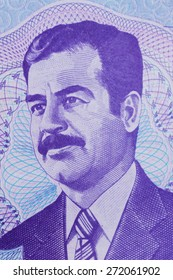 Old Iraq money, macro of Saddam Hussein.   Close up of the detail in the old bank note from Iraq.
