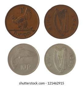 Old Irish penny coins isolated on white