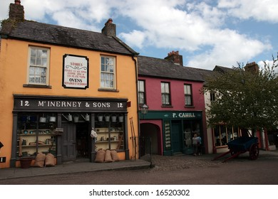 an old irish street and shops as in early irish history in Bunratty folk park