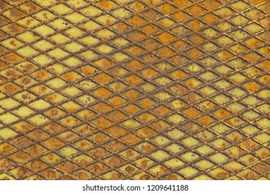 Old iron background. metal texture plate with rhombus shape