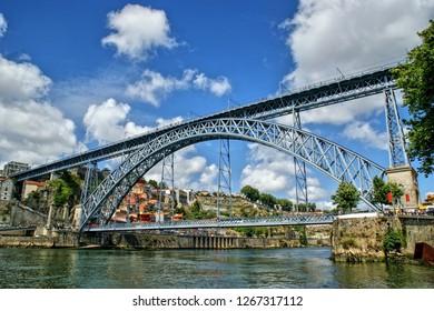 Old Iron bridge Luis I in Porto, Portugal