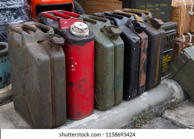 Old iron cans for gasoline ,retro decoration