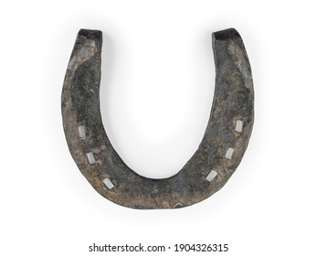 Old iron horseshoe. Isolated on white, clipping path included