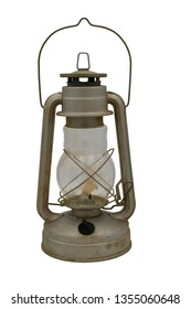 Old iron kerosene lamp. Isolate on a white background.