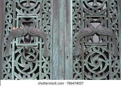 Old Iron Metal Doors on a Mausoleum in a Cemetery : mausoleum doors - pezcame.com