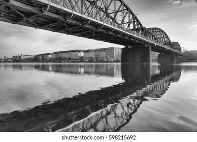 Old iron railway bridge in Prague,Czech Republic. The original bridge over the Vltava river built between 1871 and 1872
