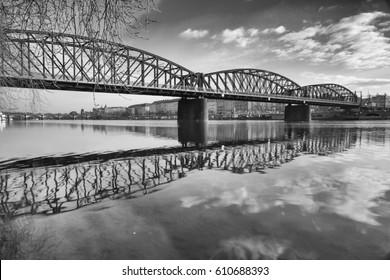 Old iron railway bridge in Prague,Czech Republic. The original bridge over the Vltava river built between 1871 - 1872