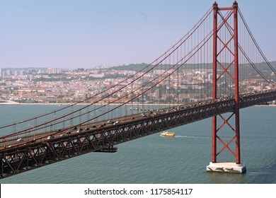 Old iron and steel bridge, 25 April in Lisbon