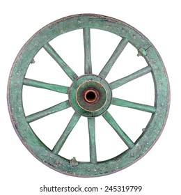 Old ironed, green wagon or carriage wheel on white background.