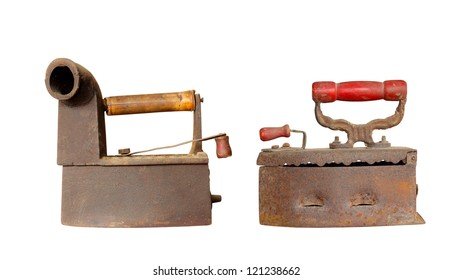 Old irons isolated on white background.