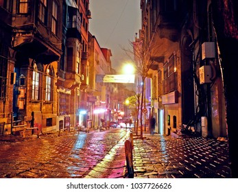 old istanbul street night view