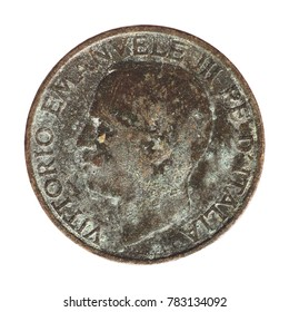 Old Italian 1 Lira coin with Vittorio Emanuele III King and Imperator, circa 1936 isolated isolated over white background