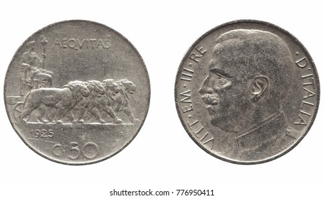 Old Italian Lira 50 cents coin with Victor Emmanuel III King and Emperor (Vittorio Emanuele III Re e Imperatore in Italian), circa 1925 isolated over white background