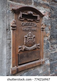 "Old Italian mail box. ""Cassetta per le lettere"" means letterbox, ""Regie poste"" means royal post."
