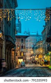 Old Italian night street in Parma, Emilia-Romagna, Italy
