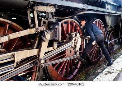 Old Italian steam locomotive