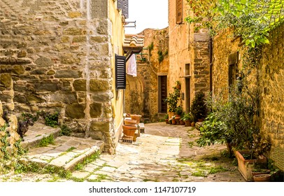 Old Italian street in Sicily. Sicily village street scene. Ancient Sicily narrow street