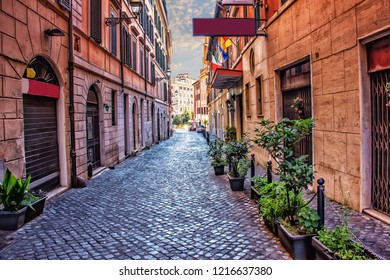 Old Italian Street Via di S. Martino Ai Monti in Rome downtown