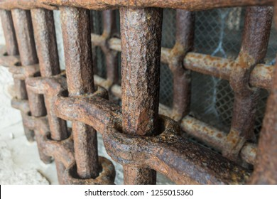 Old Jail cell / prison bars rusted macro
