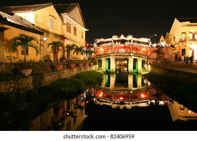 Old japanese bridge at night  in Hoi An, Vietnam