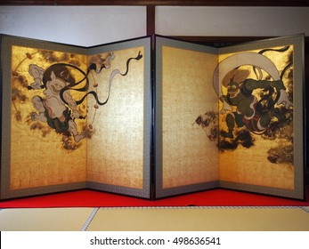 An old Japanese folding screen of the God of wind and the God of thunder in Kenninji temple in Kyoto