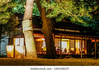 Old japanese houses of the night