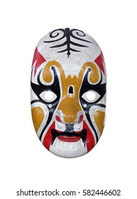 Old Japanese Kabuki mask isolated on white background, Clipping path included.