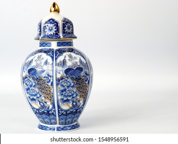 old Japanese pot with traditional blue design