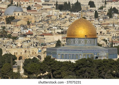 Old Jerusalem. Golden Mosque - Dome on the Rock and the Church of the Holy Sepulcher