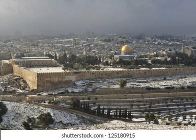 old Jerusalem with rare snow