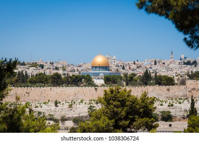 Old Jerusalem view Temple Mountain from the Olive mountain Israel