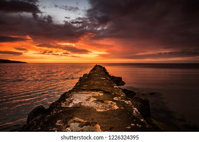 Old jetty during sunset