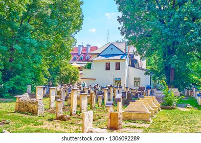 The Old Jewish Cemetery in Kazimierz neighborhood nowadays serves as a museum complex and is a popular tourist destination, Krakow, Poland