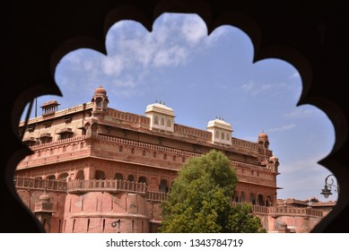 old junagarh fort from the window (jharokha) with clouds
