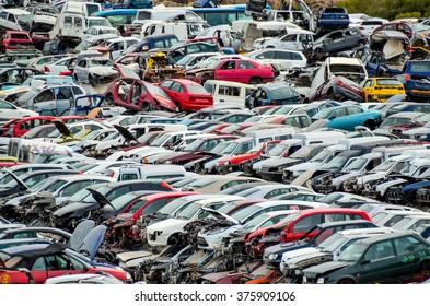 Old Junk Cars On Junkyard