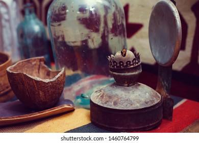 old kerosene lamp  farm vitage
