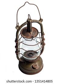 Old kerosene lamp on a white background