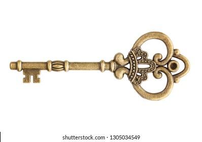Old key isolated on white background