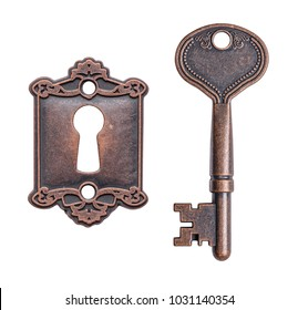 Old key and keyhole isolated on white background