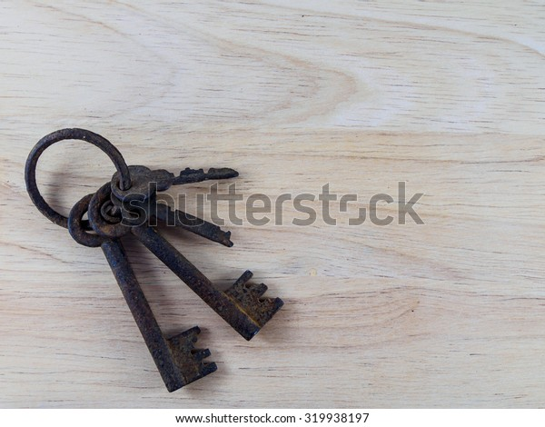 The old key on wood background.