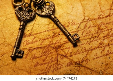 The old keys on the textured paper