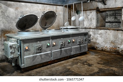 old kitchen in an abandoned military bunker