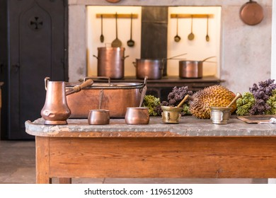 old kitchen with copper utensils