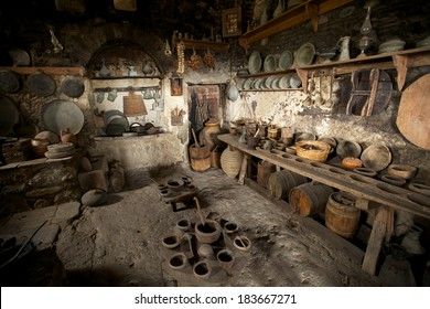 Old kitchen in monastery, Meteora, Greece