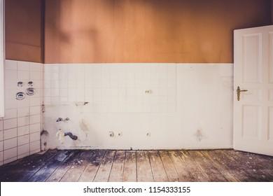 old kitchen room before renovation -  kitchen restoration concept -