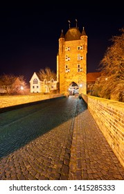 The old Kleve Gate (Klever Tor) in Xanten, Germany. Night shot.