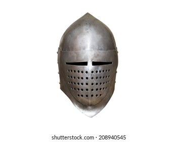old knight helmet for protection in battle. is made of metal. part of knightly armor