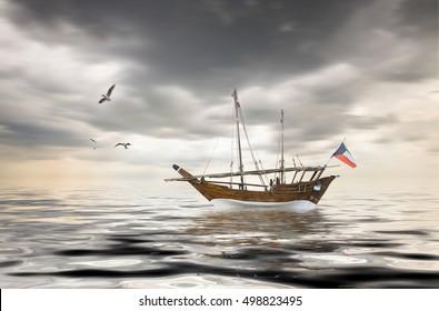 old kuwaiti fishing boat on sailing on arabian ocean