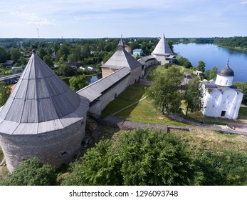 Old Ladoga fortress. The courtyard with wooden church of Dmitry Solunsky and Church of George. Staraya Ladoga village, Leningrad district, Russia