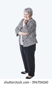 Old lady on isolated background